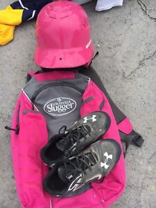 Girls baseball helmet, bag and shoes