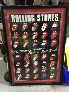 ROLLING STONES VINTAGE TOUR POSTER PROF.  FRAMED 35 COUNTRIES