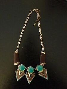 Brown, green and gold necklace