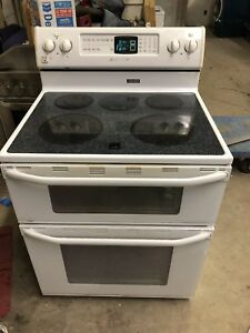 Maytag glass top stove white 2 ovens