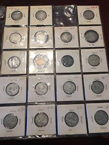 Collection de pièces de monnaie de 25 cent 1870 à 2007.