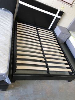 Brand new flat pack leather bed frame with super strong slats