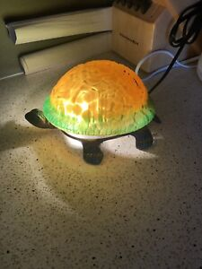 Brass and glass turtle lamp