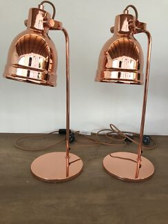 Matching copper Freedom bedside / table lamps