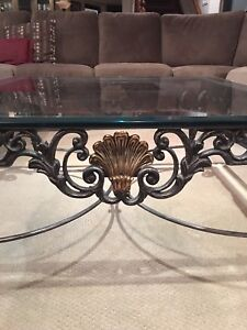 Large iron, brass  and glass beveled coffee table and end table