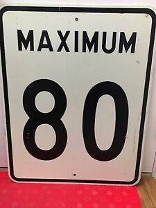 80km road sign
