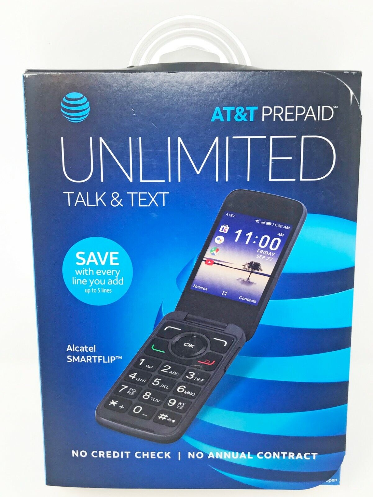 AT&T Prepaid Alcatel Smart Flip Cell Phone New Unopened in O