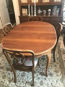 Table and six chairs - solid wood