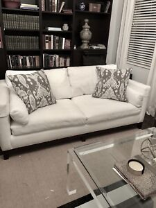 White Slip-Covered Lee Sofa Couch