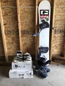 Snowboard with Ride Orion Boots and Ride LS Bindings