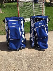 Blue and white Grit bags