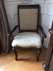 Formal dining chairs and extendable table