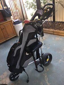 Nike golf clubs, bag and buggy