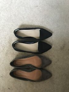Ballet flats size 7.5 (black and taupe faux suede)
