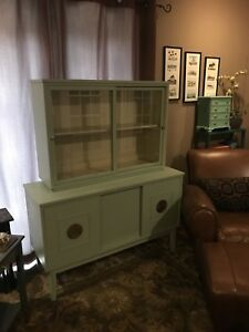 Refurbished Antique/ Vintage Wood Petite China Cabinet/Hutch