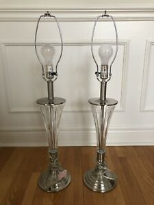 Identical contemporary side table lamps