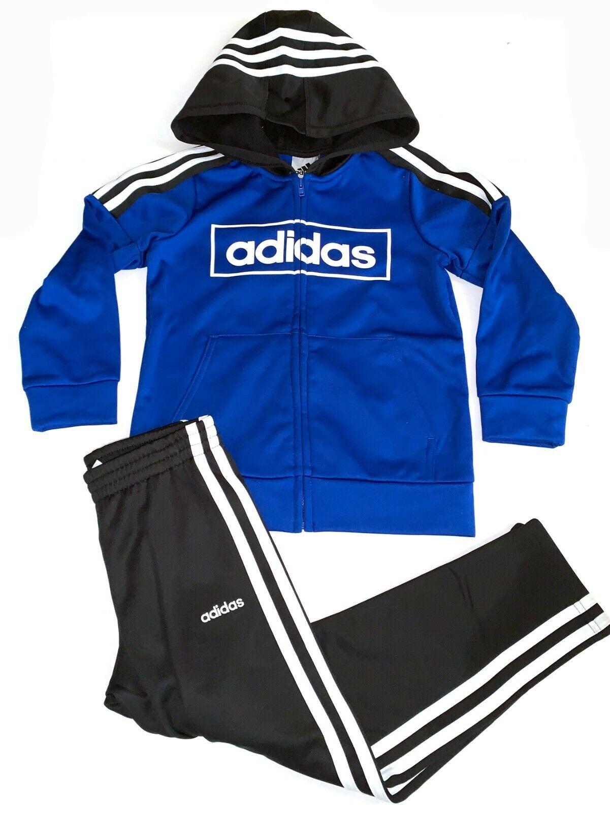 Adidas Kids Boy's 2 Piece Set Track Suit Pants & Full Zip Ho
