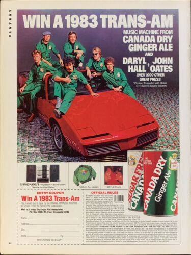 Vintage 1983 Canada Dry Ginger Ale With Hall & Oats Print Ad Advertisement