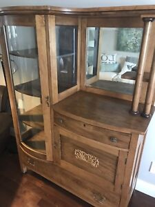 Antique maple side by side buffet hutch cabinet