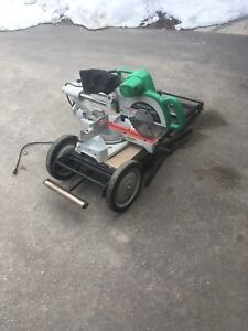 "Hitachi 10"" compound sliding mitre saw with stand"