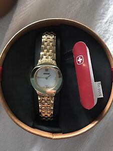Women's gold plated wenger watch