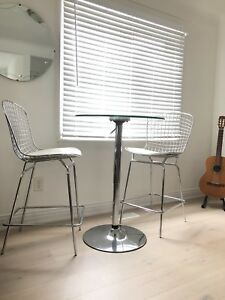 Zuo Modern chrome bar stools and table