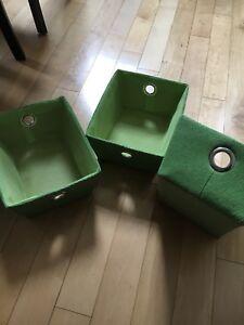 3 Paniers de rangement vert boutique Clément