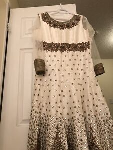 White and gold anarkali Indian suite