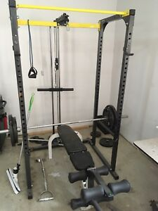 Northern lights squat rack with weights,bench,olympic bar