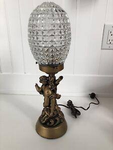 Vintage Table Lamp - Cherub Ornate Base Glass Shade