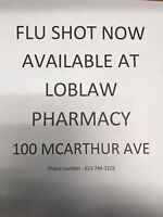 Flu shots available no appointment needed