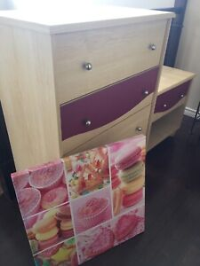 Kids  dresser, side table and picture
