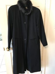 Ladies wool and fur winter coat
