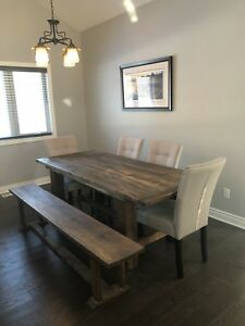 Custom made Harvest Table, Bench & 5 chairs