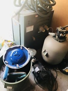 Swimming pool water heater, pump and filter