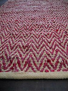 New Graphic Red Chevron Recycled Rustic Leather Weave Rugs Melbourne CBD Melbourne City Preview