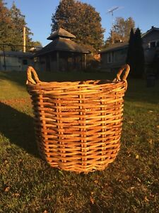 Large English Wicker Basket with Ear Handles