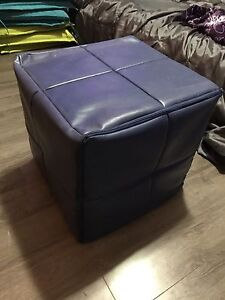 Blue Faux Leather Ottoman- Great Condition!