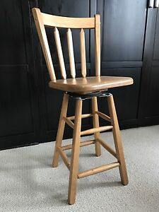 Solid wood swivel barstool