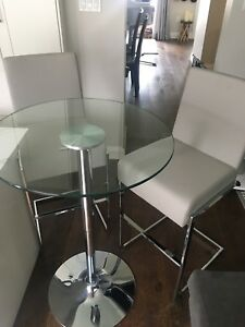 Glass Bar Top Table and Grey Leather Stools