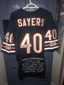 Signed Gale Sayers Chicago Bears jersey