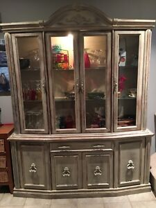 Rustic China Cabinet with Light