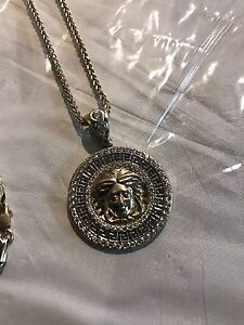 Versace pendant and Franco chain 10k gold