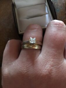 14 kt gold 1/2 kt  engagement and his and her