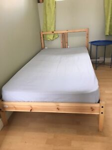 IKEA single/twin bed, frame and mattress, like new