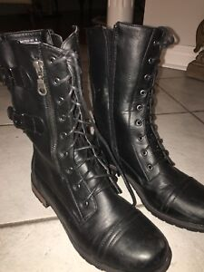 BLACK LEATHER COMBAT BOOTS WORN ONCE