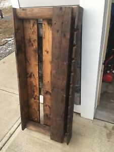 Pallet wood wine rack. Quite large.