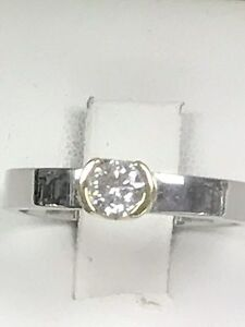 Bague or blanc et jaune en 14k avec diamants de 50 points