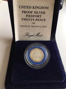 1982 Vintage UK Royal Mint Proof Silver Piedfort 20p 1/25000