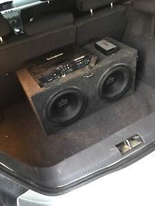 """Dual 10"""" subs in box with amp"""